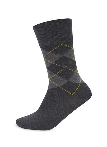 Hemington Antrasit Baklava Desenli Pamuk Çorap Antrasit